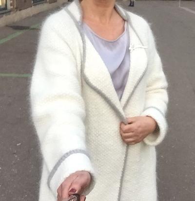 пальто из пуха кролика
