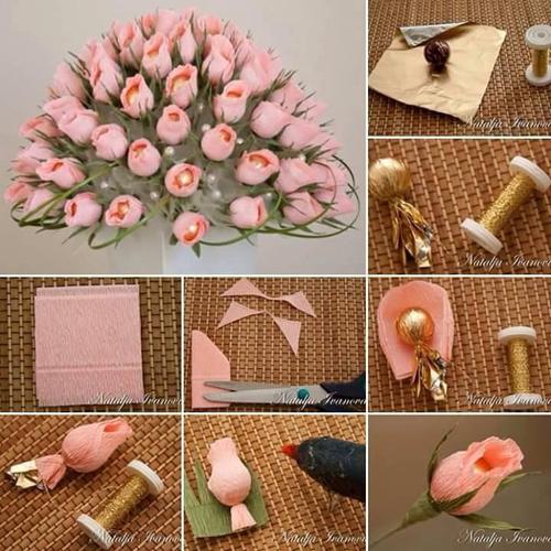 сладкий букет из бумажных цветов