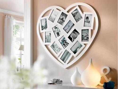 валентинка на стене из фотографий