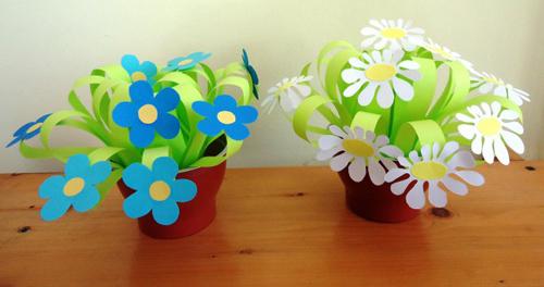 цветы из бумаги в горшечках