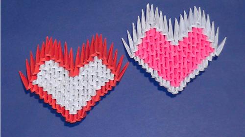 валентинка из модулей оригами