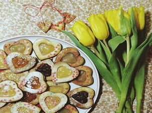 печенье в форме валентинок