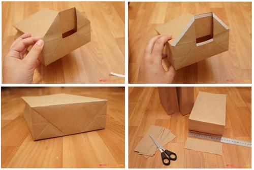 процесс сборки бумажного пакета