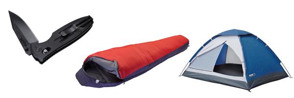 спальный мешок, палатка и нож