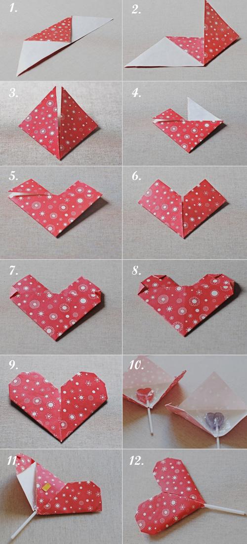 процесс создания валентинки оригами