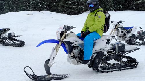 катание на снежном мотоцикле