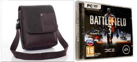 сумка и диск с компьютерной игрой