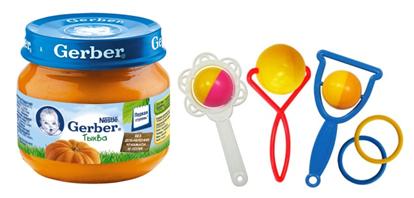 детское питание и погремушки