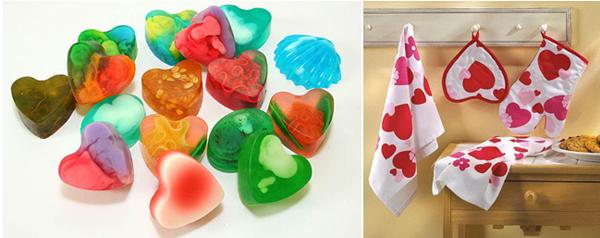 самодельное мыло в виде сердечек