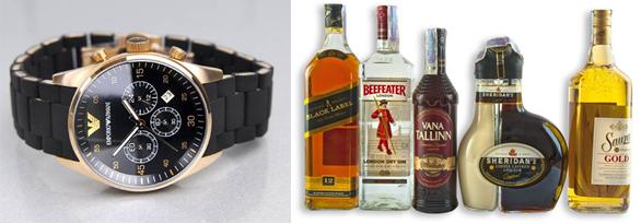 мужские наручные часы и алкоголь