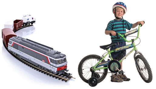 детский велосипед и железная дорога