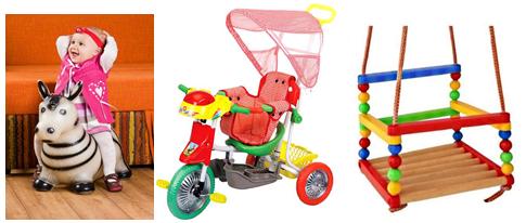 качельки и велосипед для ребенка