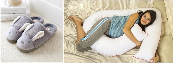 домашние тапочки и подушка для беременных