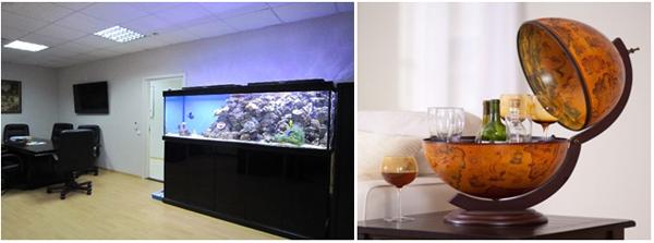 аквариум и бар-глобус