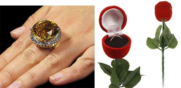кольцо в футляре в виде цветка