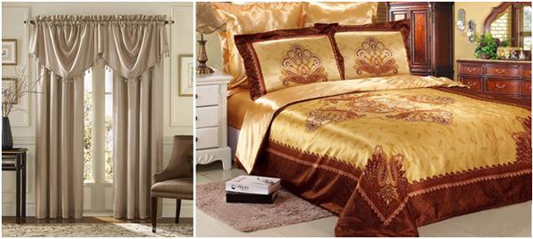 шторы и постельное бельё из атласа