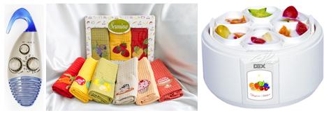 йогуртница, радио для душа и полотенца для кухни