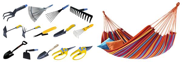 гамак и инструменты для сада