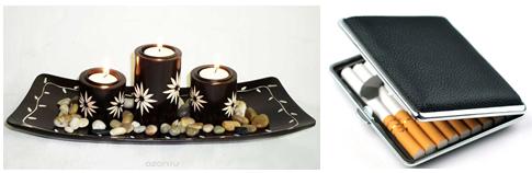 портсигар и арома-свечи